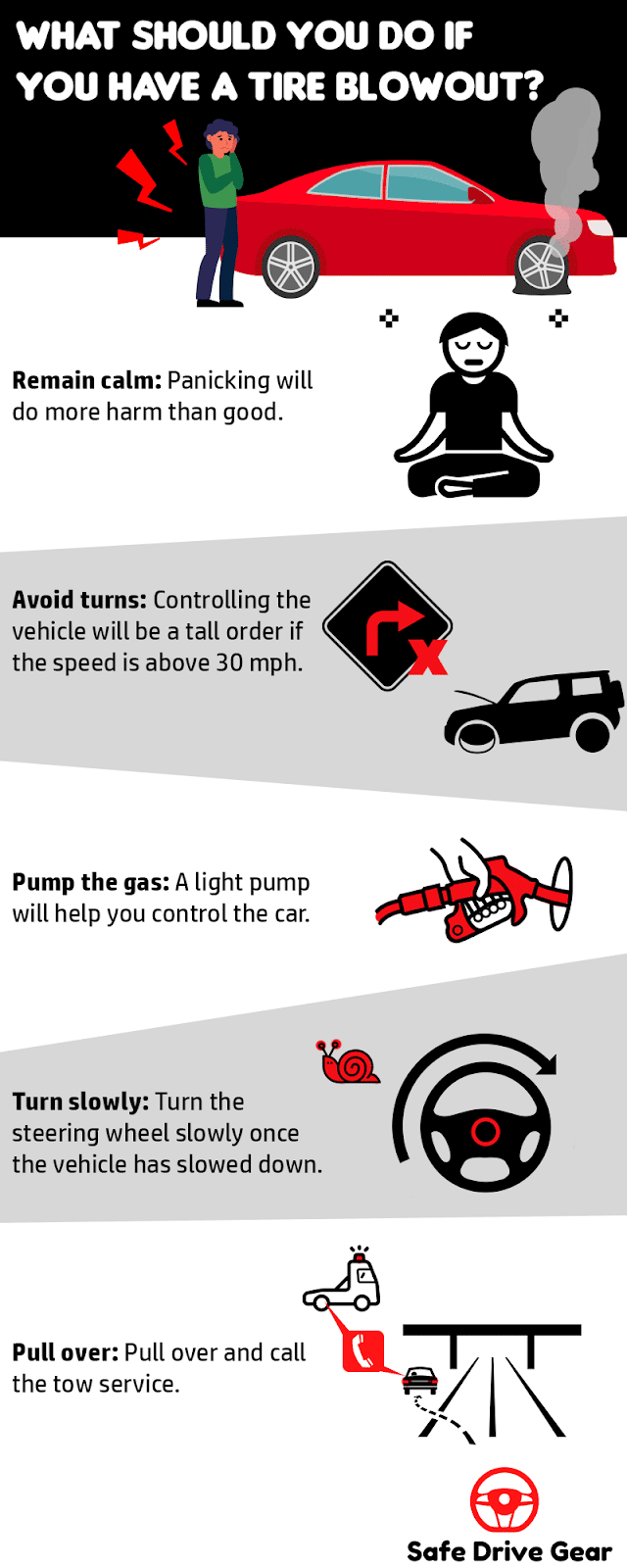 What should you do if you have a tire blowout