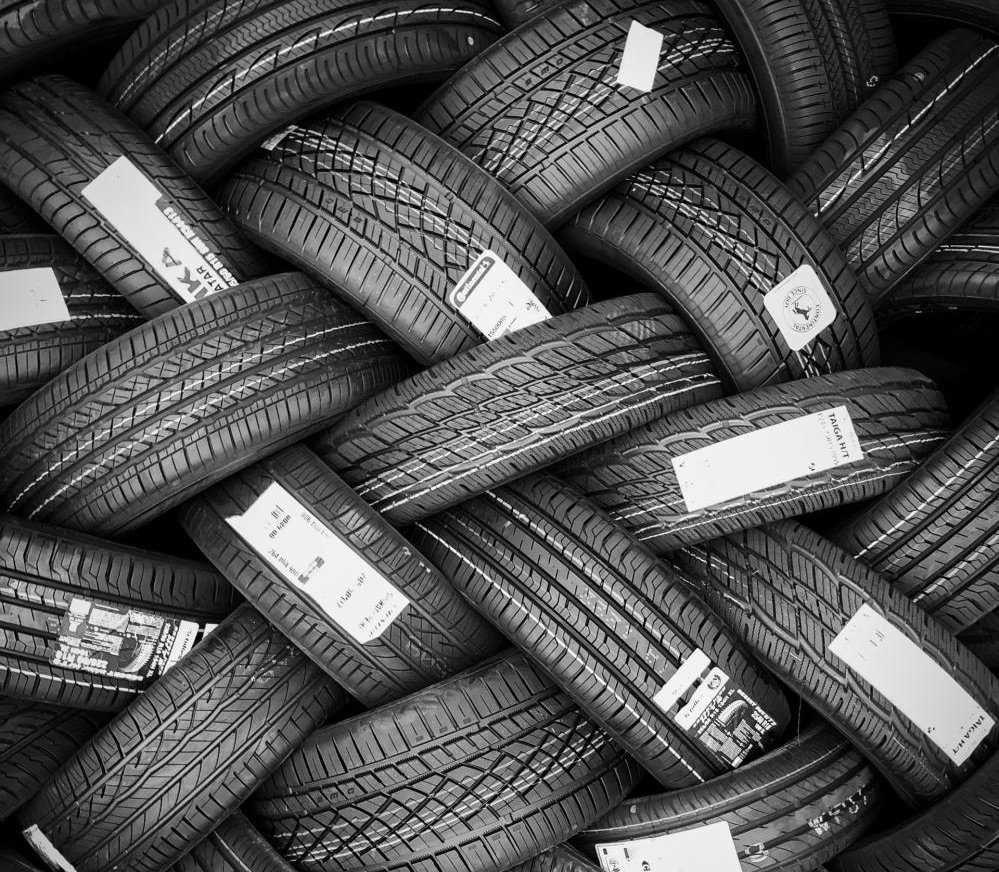 A bunch of new tires bundled together