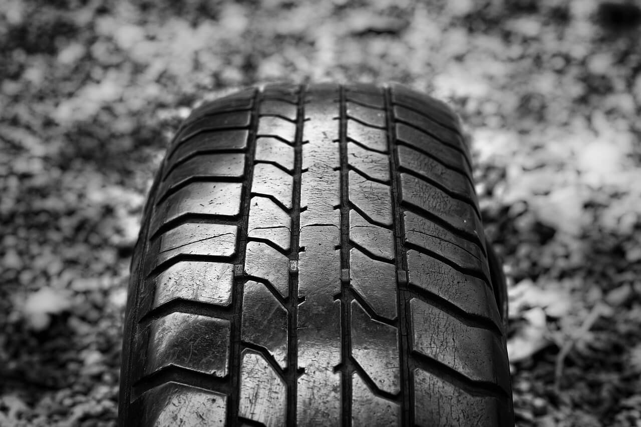Close up photo of tire treads.