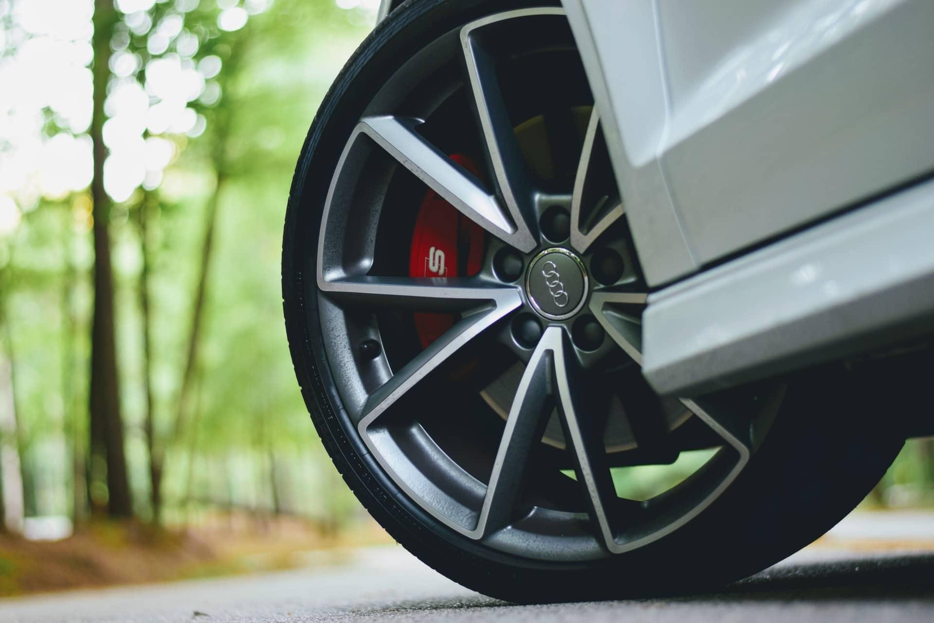 Closeup of a tire on an Audi