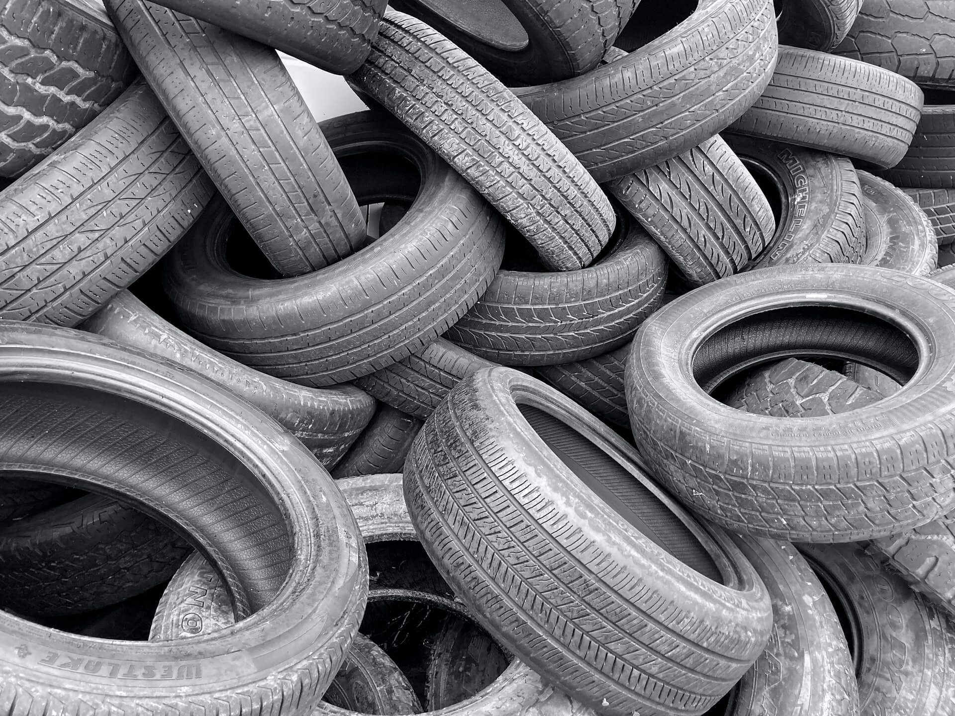 Tires in an unorganized pile