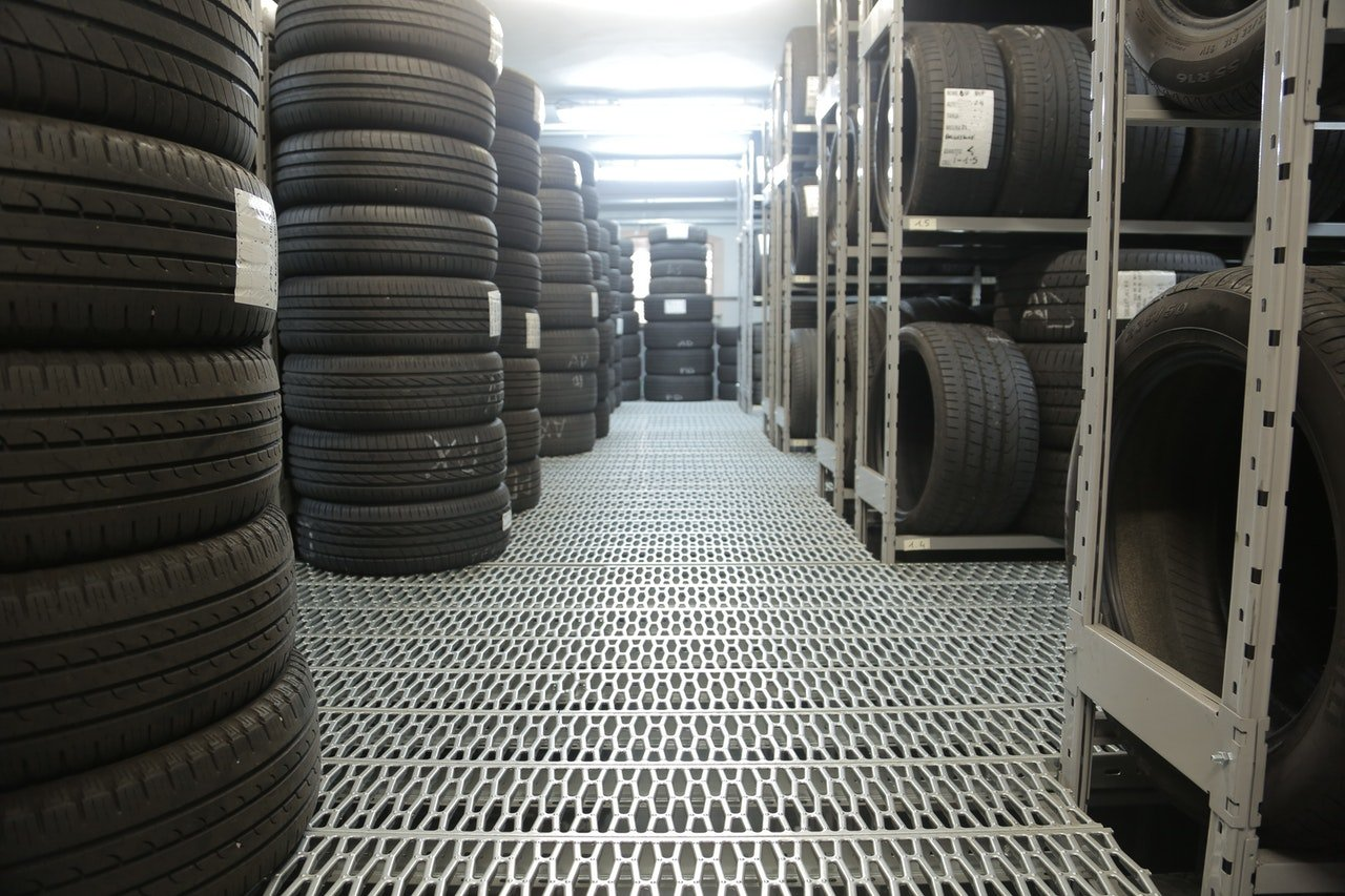 Stacks of tires in a warehouse