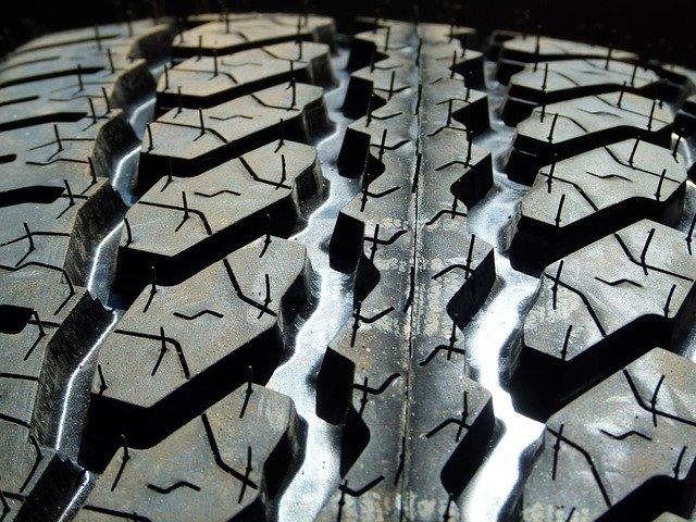 Closeup shot of deep tire treads