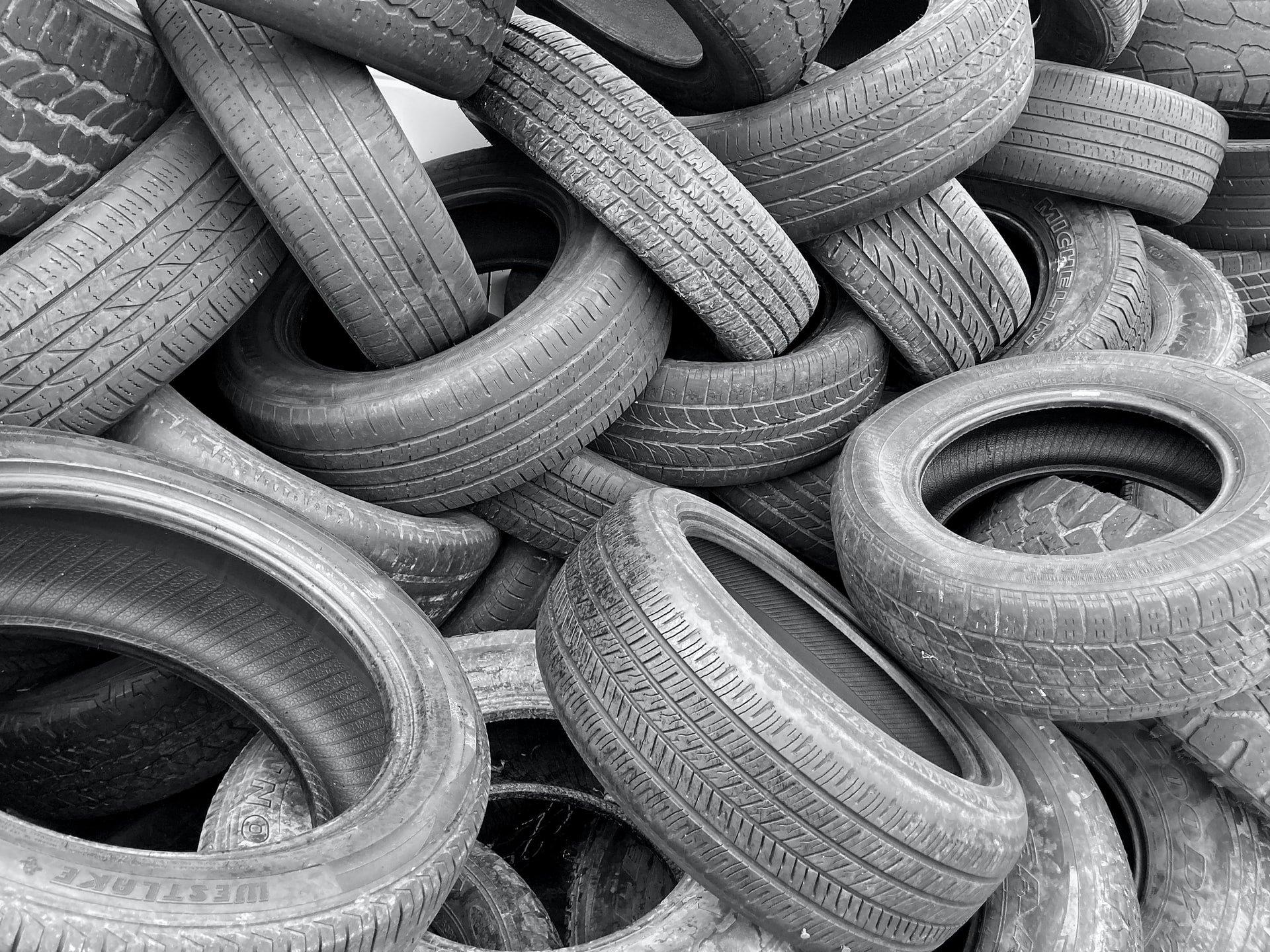 old car tires stored together