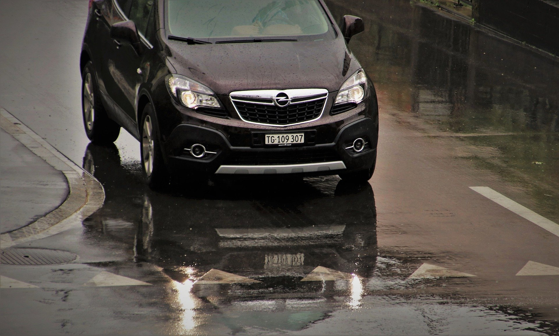 driving car in the wet road